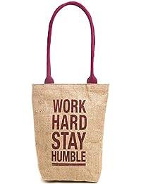 H&B Beige-Maroon-Pink Belt Jute Handbag / Quality Lunch Bag / Gift Bag / Jute Stylish Lunch Bag / Combo Offers... - B0792TNHBF