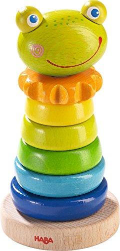 HABA 302915 - Steckspiel Frosch, Sortier- und Motorikspielzeug zum Lernen von Größen und Farben, Holzspielzeug ab 18 Monaten