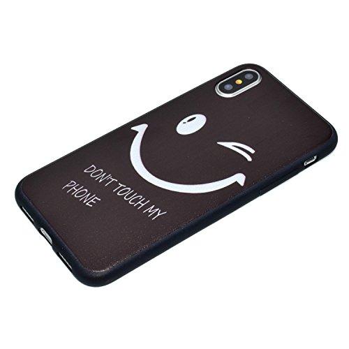 iPhone X Hülle, Voguecase Silikon Schutzhülle / Case / Cover / Hülle / TPU Gel Skin für Apple iPhone X(Black Great color tree) + Gratis Universal Eingabestift Black my phone 03
