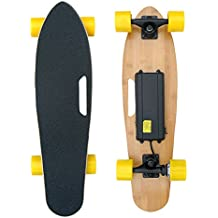 Cool&Fun 4 Wheel Electric Skateboard Sport Long Retro Skateboard Board with Remote Control, LG Lithium Ion 2.2 Ah / 15 km / h (Yelllow)