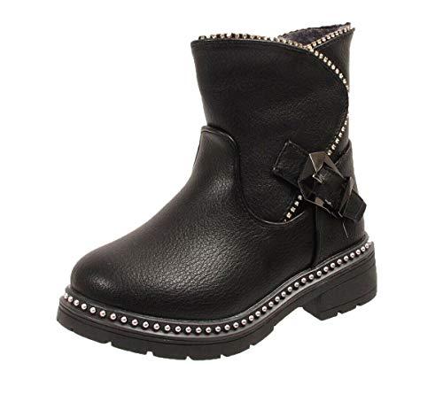 Girls Buckle Fashion Biker Fur Lined Zip Winter Ankle Stud Boots Grip Sole Size