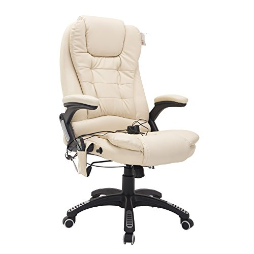 Homcom® Bürosessel Bürostuhl Chefsessel Gamingsessel Massagesessel 6 Punkt Vibrations Massage mit Wärmefunktion drehbar (creme)