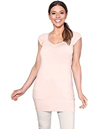 c6bbe40ec7 KRISP Mujer Camiseta Larga Básica Manga Corta Ancha Casual Escote