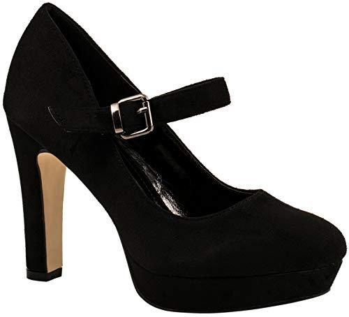 Elara Zapatos Tacón Correa Mujer Chunkyrayan E22317-SchwarzM-38
