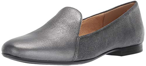 Leather Square Toe Mokassins (Naturalizer Damen Emiline, Pewter Sparkle, 39.5 M EU)
