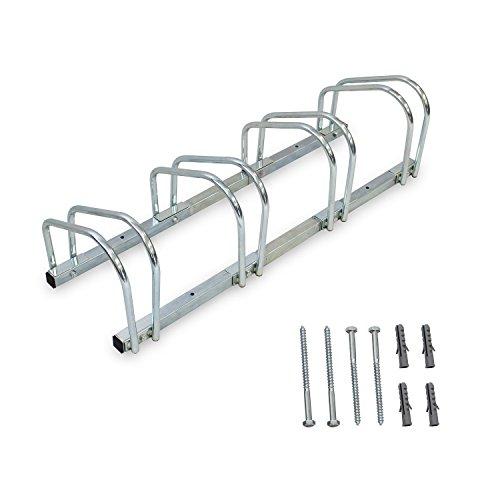 Sotech Fahrradständer für 4 Fahrräder, Radständer Silber, Boden- und Wandmontage, Mehrfachständer 99 x 32 x 26 cm