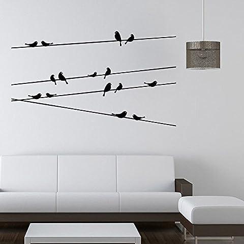 Sticker mural autocollant amovible sticker mural oiseaux volant sur fil pour chambre décoration murale