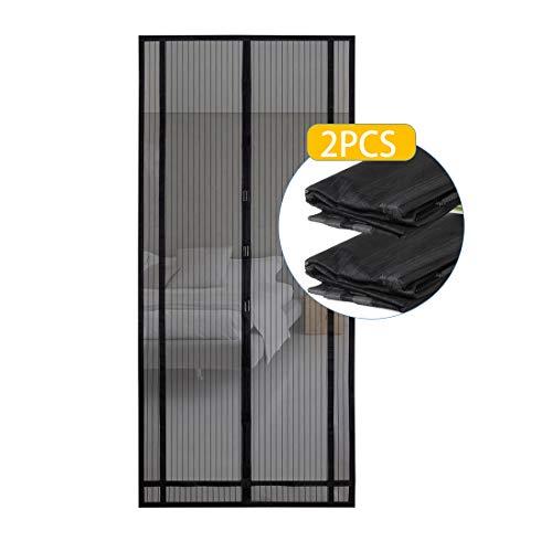 Sekey 2PCS 220 x 100 cm Magnetvorhang zum Insektenschutz, magnetischer Fliegengitter für Balkontür, Kellertür, Terrassentür (zuschneidbar in Höhe und Breite) durch kinderleichte Klebemontage, schwarz