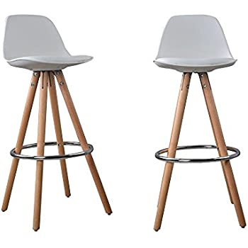 Nordic lot de 2 tabourets bar a2 blanc bois massif cuir - Amazon tabouret de bar ...