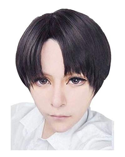 NiceLisa Hohe Qualität Short Side Parted Schwarz Braun Haare Mixed Boy Männlichen Cosplay Anime Perücken - Boy Perücke
