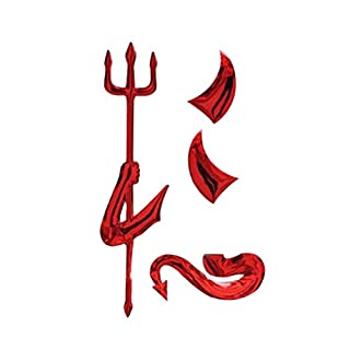 NUOLUX 3D Metal Plating Devil Car Truck Motor Auto Decal Badge Sticker (Red)
