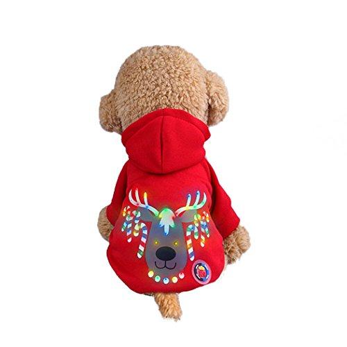 Kostüm Rote Für Köpfe - Abcsea Haustier Kostüm, Haustier Kleidung, Hund Kleidung, Haustier Glühen Kleidung, Leuchten Im Dunkeln, Hund Halloween Halloween Glühen Kostüm, Weihnachtsbaum Rotwild Kopf Stil - Rot - S
