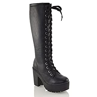 - 41KKK7C1uBL - Womens Lace Up Mid Knee High Boots Ladies Cleated Chunky Block Platform Goth Combat Biker Lace Up Black Boots Size 3-8
