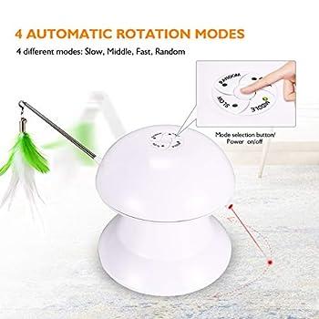 homeasy Jouet Chat Electrique et Rotative, 2 en 1 Jouet pour Chat avec Plume et LED Lumière Rouge USB Recharge