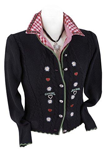 Trachten-Strickjacke Damen - Trachtenjacke/Dirndljacke Schwarz- Top-Qualität