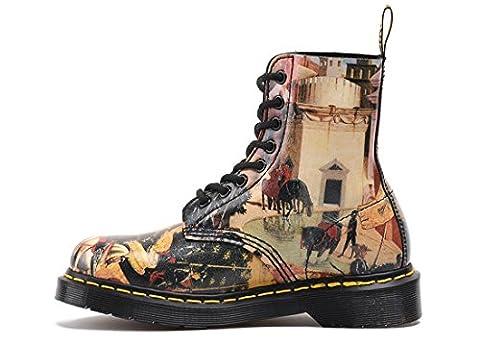 Femmes dames Hommes Bottes courtes Chaussures de couple Flat New Fashion Martin Bottes Lace Up Cuir véritable Anti-usure Peinture antidérapante Printemps Automne Hiver , painting , EUR 36/ UK