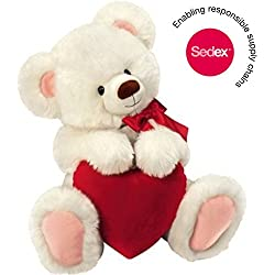 Original Honey Bear - Peluche d'ours blanc avec cœur, 30 cm