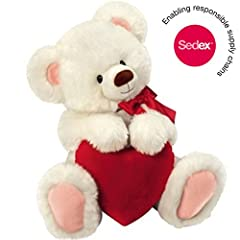 Idea Regalo - Original Honey Bear® – Peluche d'ours blanc avec cœur, 30 cm