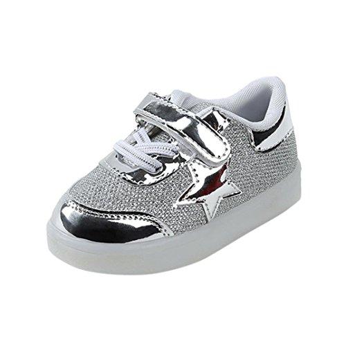 Babyschuhe,Sannysis Baby Sneaker LED Leuchtende Kinder Kleinkind Schuhe 1-6Jahre (28, Silber)