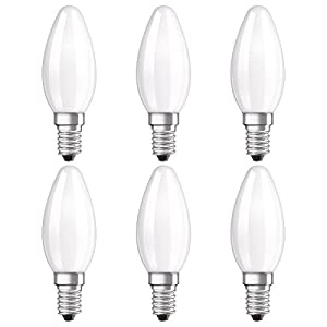 Osram LED Star Classic B Lampe, in Kerzenform mit E14-Sockel, nicht dimmbar, Ersetzt 40 Watt, Matt, Warmweiß - 2700 Kelvin, 6er-Pack