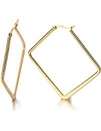2 Oro Grande Cuadrado Llanura Pendientes del Aro, Pendientes para Mujer Niñas, Acero Inoxidable