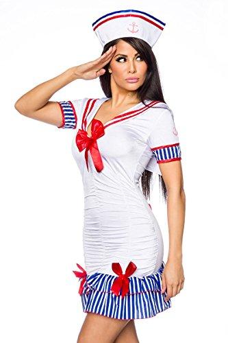 Kostüm Marine Mädchen Matrose - at 2-TLG. Marine Kostüm Marine Mädchen Damen Marinekostüm Matrosen-Kleid Karneval Set: Kleid, Hütchen