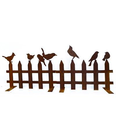 Edelrost Zaun / Beeteinfassung mit Vögelchen 40cm x 50cm von SA bei Du und dein Garten