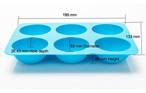 Special Ingredients Große Halbhalbkugel Silikon-Form 6 - Gesamtbreite 133mm. Gesamtlänge 195mm. Halbkugeldurchmesser 55mm. Halbkugel Tiefe 26.5mm