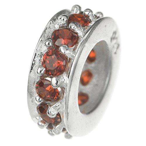 Anello rotondo in argento sterling 925bead rosso cz cristalli per braccialetti europei
