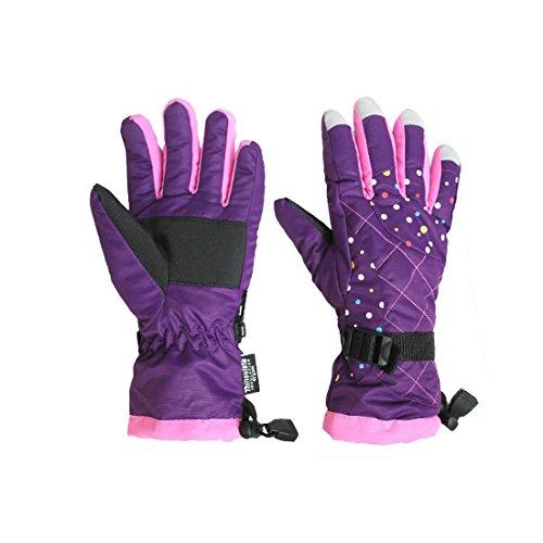 GWELL Damen Funktion Skihandschuhe Wasserdicht Wärmehaltung Snowboard Fahrrad Mountainbike Handschuhe lila