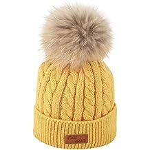 QUICKLYLY Gorro Bebé de Lana Tejido Invierno Grueso Sombrero para Niños Y  Niñas Bufanda Conjunto Slouchy c5077e2599b