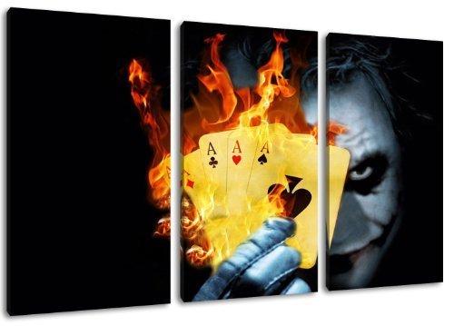 Joker 3-Piece Canvas Wall Art, overall size: 120 x 80 CM)-High-Quality Art Print Wandbild. Cheaper than AN oil Painting Warning! Not A Poster! by Dream-Arts
