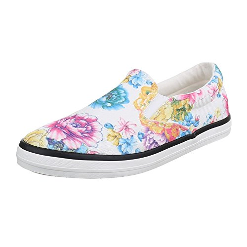 Slipper Damen Schuhe Low-Top Pailetten Deko Ital-Design Halbschuhe Weiß Multi JS801-