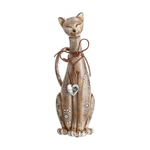 Figura de Gato marrón con Mosaico de Espejo Moderna para la Entrada Sol Naciente - LOLAhome
