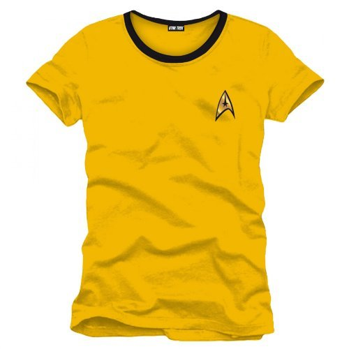 Star Trek Captain Kirk Uniform T-Shirt Raumschiff Trekkie Convention Baumwolle gelb Kostüm Oberteil - ()
