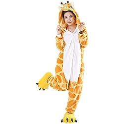 Minetom Unisex Cálido Pijamas para Adultos Cosplay Animales de Vestuario Ropa de Dormir Halloween y Navidad Jirafa S (150-160CM)