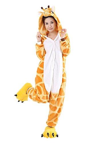 Minetom Einhorn Adult Pyjama Cosplay Tier Onesie Body Nachtwäsche Kleid Overall Animal Sleepwear Erwachsene Giraffe XL(180-190CM) (Person Einhorn Kostüm 2)
