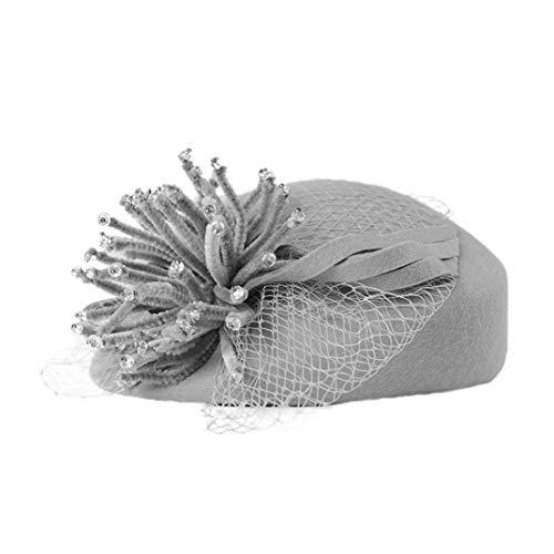 TOBEEY Frauen Fascinator Wolle französische Barette Hüte Damen Winter Tee Party Hochzeit Haarschmuck