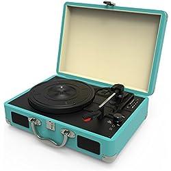 Tocadiscos,Tocadiscos de vinilo vintage bluetooth con 3 velocidades y altavoces integrados,portatil tocadiscos maleta,graba de vinilo a MP3, reproduce MP3,Tiene entrada para auriculares, RAC y grabación por USB y tarjetas SD