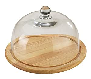 26 cm en bois-Plateau à fromage avec cloche en verre