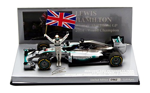 Minichamps 1:43 Scale ``2014 Mercedes F1 Lewis Hamilton Abu Dhabi GP with Figure amp; Flag`` Car (Silver)