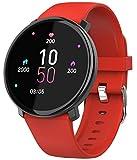 Damen Herren Smartwatch Fitness Tacker Sport Uhr Pulsmesser Schlafmonitor Kalorienzähler Blutdruck Schrittzähler Bluetooth Wasserdicht Aktivität Frauen Armbanduhur SMS Bluetooth IOS Android