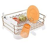 mDesign Scolapiatti da appoggio - Sgocciolatoio ideale per il ripiano della cucina - Scola piatti per lavello con beccuccio di scolo girevole in metallo e plastica - rame/trasparente