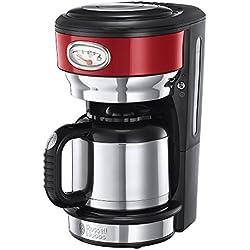 Russell Hobbs Machine à Café 1000W, Cafetière Filtre 1L Rétro Vintage, Isotherme, Rapide, Cuillère Dosette, Plaque Chaude - Rouge 21710-56
