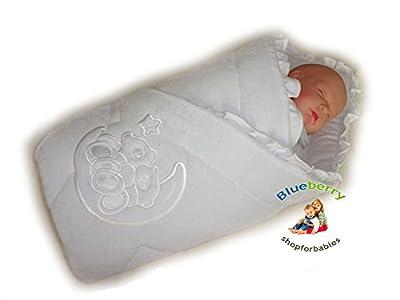 BlueberryShop Bordado Velour Manta para Envolver al Recién Nacido Sábana Bajera Saco de Dormir Regalo Algodón 0-4m ( 0-3m ) ( 78 x 78 cm )