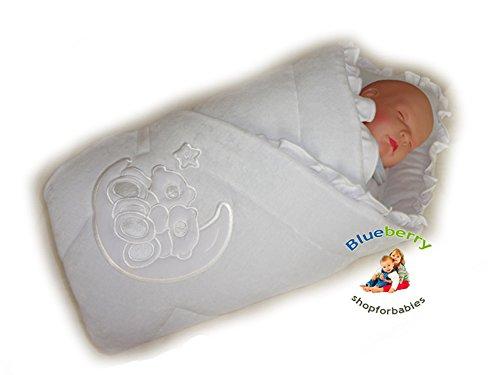 BlueberryShop Bestickte Velours Wickeldecke Decke Schlafsack für Neugeborene, Geschenk für Baby 100% Baumwolle, 0-4M ( 0-3m ) ( 78 x 78 cm ) Weiß