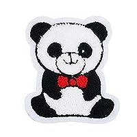 Toruiwa 1X Parches de Ropa Parches termoadhesivos Parches de decoración DIY Parches Bordados Lindo Parche de Bordado de Panda Decoración de Ropa para niños 9cm*10.6cm