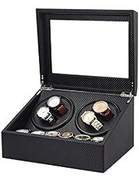 Quad arranview + 6enrejado de almacenamiento Remontoir para relojes mecánico automático caja, de pintura de piano, Rotor de Motor ultra-silencieux