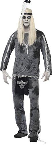 Smiffys, Herren Geister-Indianer Kostüm, Hemd, Hose und Kopfschmuck, Größe: L, (Kopfschmuck Indianer Herren)