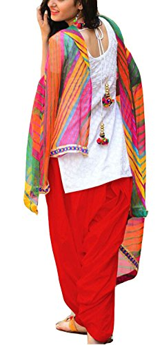Clickedia Women\'s Semi Stitched Heavy Slab Cotton White & Red Patiala Suit With Dupatta - Dress material
